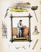 Historisk sten murværk værktøjer